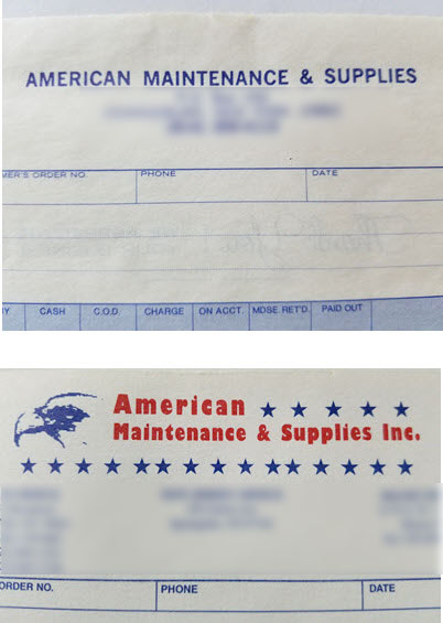 early version of our logo and invoice